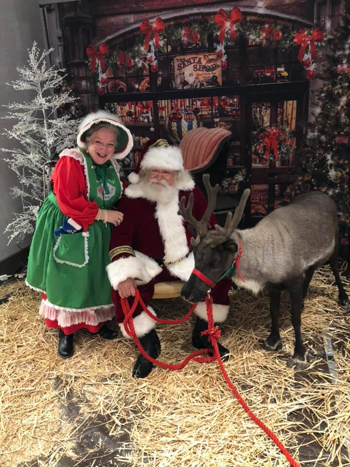 Santa and Mrs C. with reindeer 2019